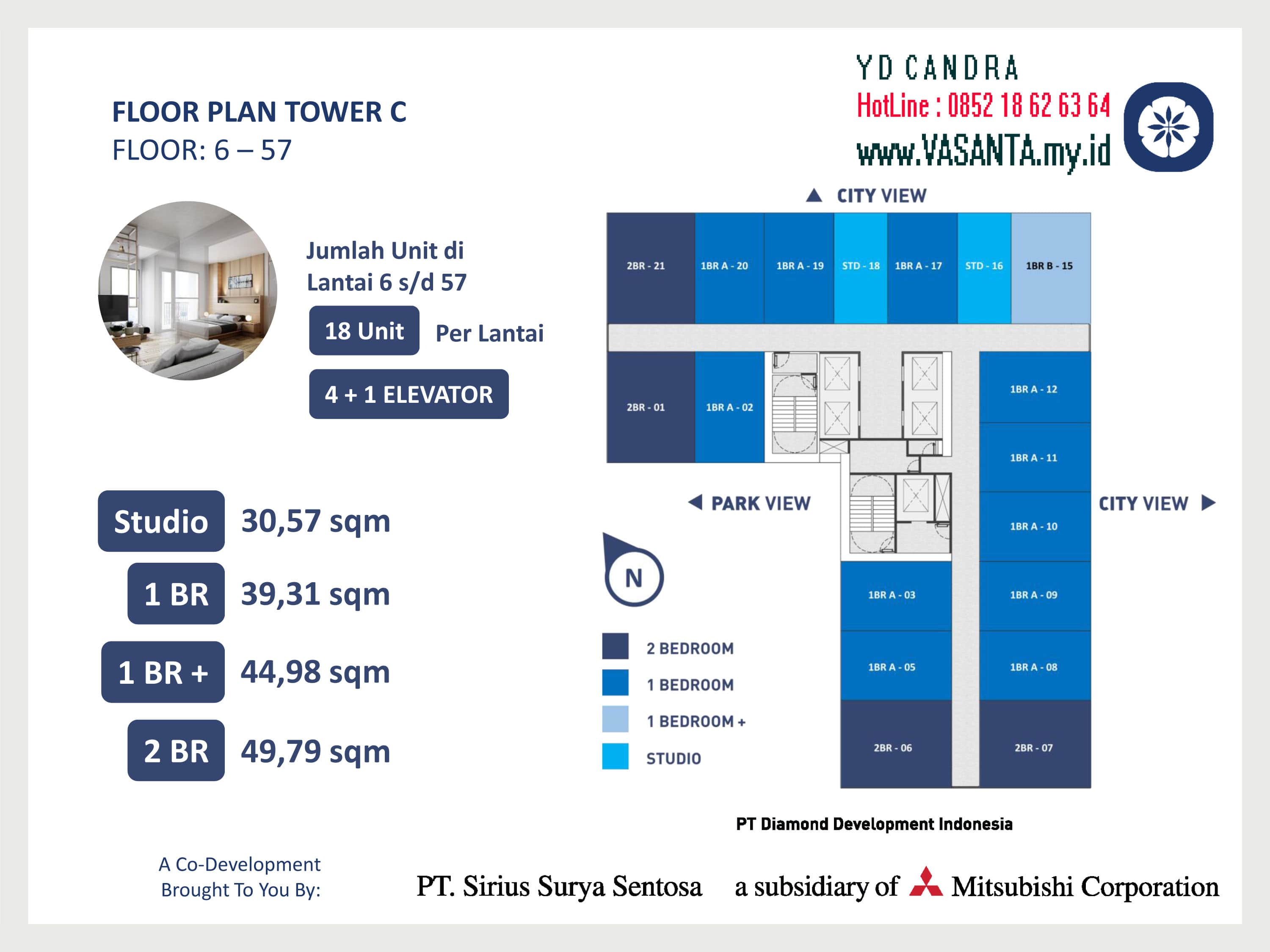 VASANTA Tower Chihana Floor Plan Tower C Floor 6 sampai 57
